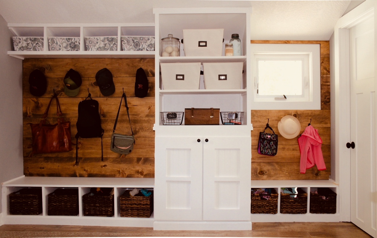 Finished area with mudroom bench