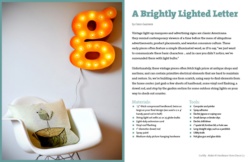 A brightly lighted letter - DIY wall art from Curbly.com