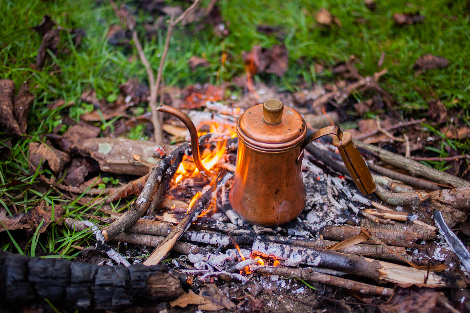 camping coffee maker - boiling water