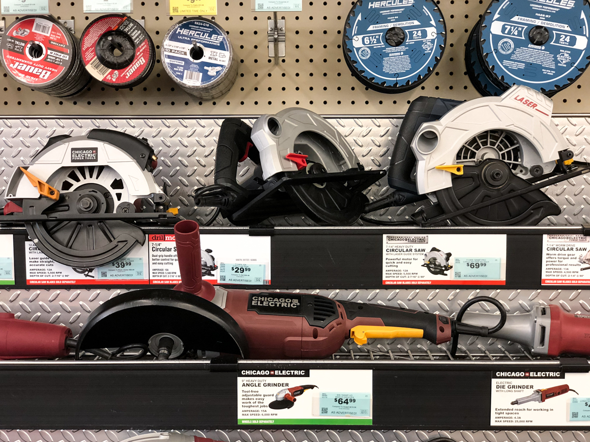 handheld power tools on a store shelf