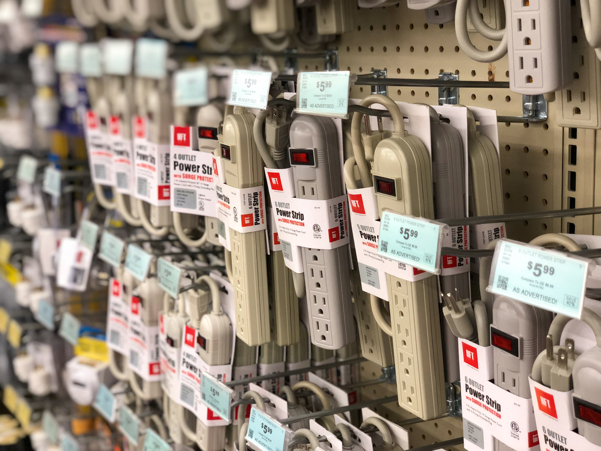 indoor multi-outlet strips at Harbor Freight