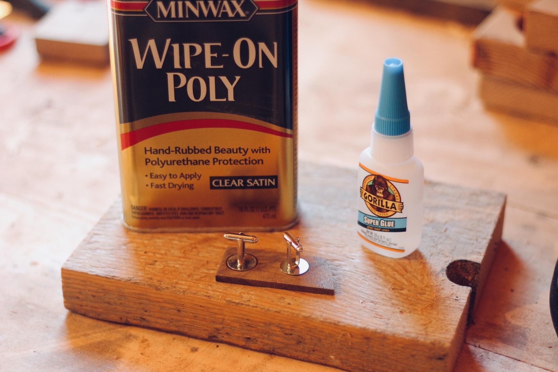 gluing wooden custom cufflinks