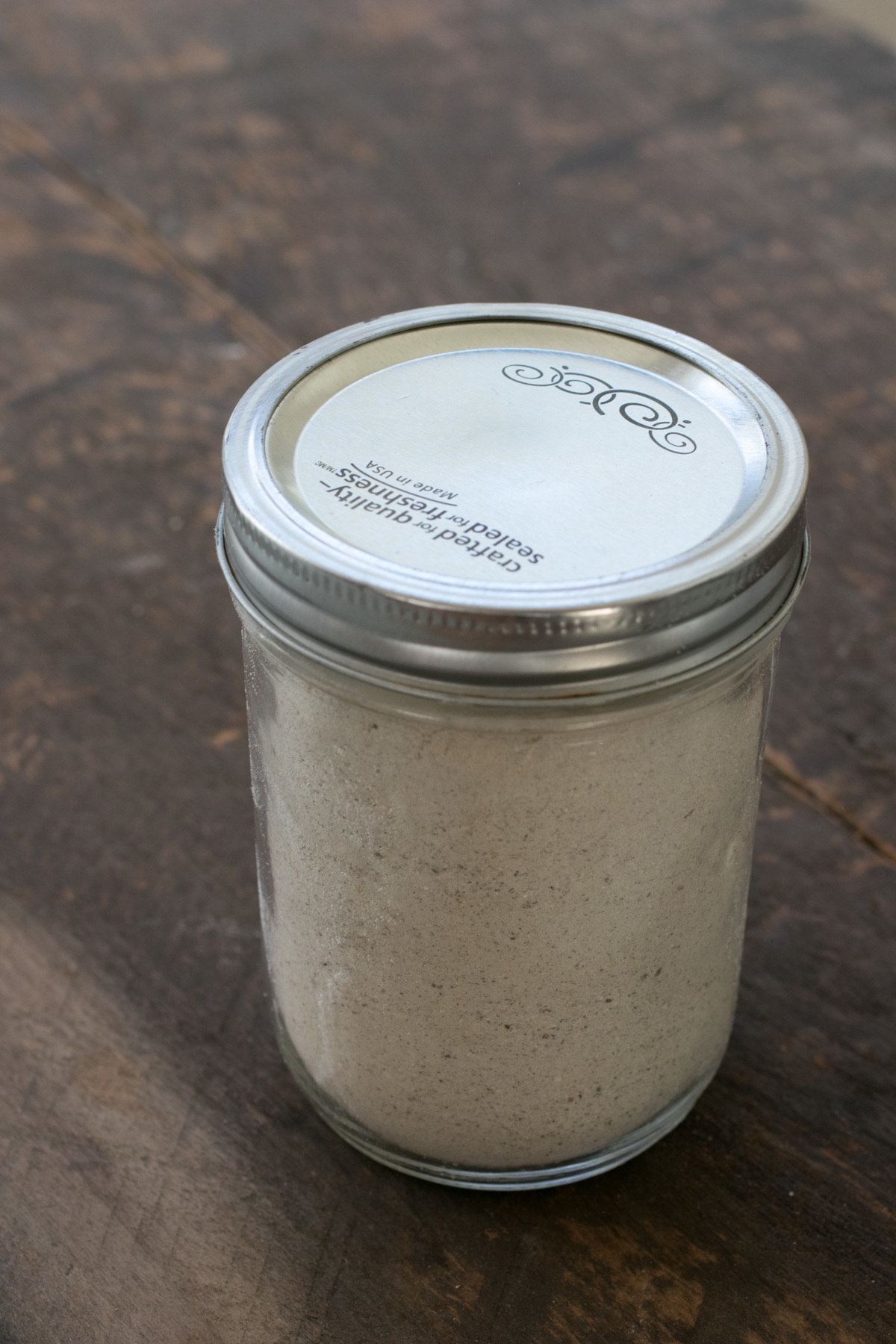 jar of dried mushroom powder